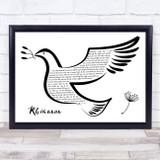 Fleetwood Mac Rhiannon Black & White Dove Bird Song Lyric Wall Art Print