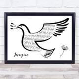 John Lennon Imagine Black & White Dove Bird Song Lyric Wall Art Print