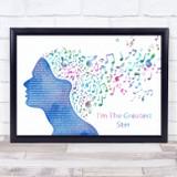 Barbra Streisand I'm The Greatest Star Colourful Music Note Hair Song Lyric Wall Art Print