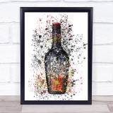 Watercolour Splatter Coffee Liqueur Bottle Wall Art Print