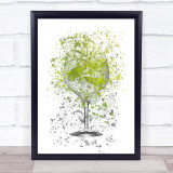 Watercolour Splatter Gin & Tonic With Lime Glass Wall Art Print