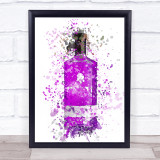 Watercolour Splatter Purple Rhubarb Ginger Gin Bottle Wall Art Print