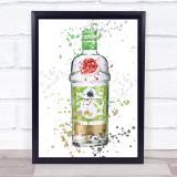 Watercolour Splatter Rangpur Lime Gin Bottle Wall Art Print