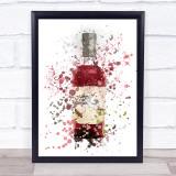 Watercolour Splatter Scottish Plum Gin Bottle Wall Art Print