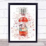 Watercolour Splatter Scottish Raspberry Gin Bottle Wall Art Print