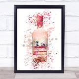 Watercolour Splatter Scottish Rhubarb Gin Bottle Wall Art Print