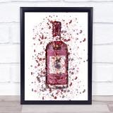 Watercolour Splatter Sloe Red Swan Gin Bottle Wall Art Print