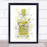 Watercolour Splatter Yellow Lemon Swan Gin Bottle Wall Art Print