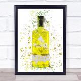 Watercolour Splatter Yellow Quince Gin Bottle Wall Art Print