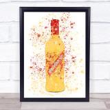 Watercolour Splatter Yellow Egg Brandy Liqueur Bottle Wall Art Print