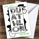 Duathlon Green Good Luck Personalised Good Luck Card