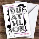 Duathlon Pink Good Luck Personalised Good Luck Card