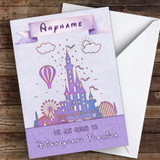 Surprise We Are Going To Disneyland Florida Watercolour Lilac Personalised Card