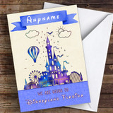 Surprise We Are Going To Disneyland Florida Metallic Blue Personalised Card