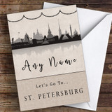 Surprise Let's Go To St Petersburg Personalised Greetings Card