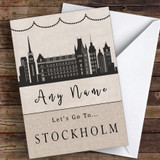 Surprise Let's Go To Stockholm Personalised Greetings Card