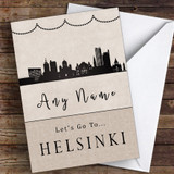 Surprise Let's Go To Helsinki Personalised Greetings Card