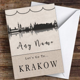 Surprise Let's Go To Krakow Personalised Greetings Card