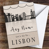 Surprise Let's Go To Lisbon Personalised Greetings Card