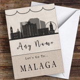 Surprise Let's Go To Malaga Personalised Greetings Card