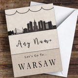 Surprise Let's Go To Warsaw Personalised Greetings Card