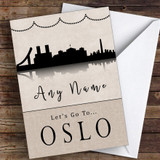 Surprise Let's Go To Oslo Personalised Greetings Card
