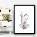 Cute Kids Bunny Children's Nursery Bedroom Wall Art Print
