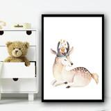 Cute Kids Deer Children's Nursery Bedroom Wall Art Print