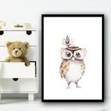 Cute Kids Owl Children's Nursery Bedroom Wall Art Print