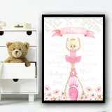 Ballerina Blond Hair En Pointe Children's Nursery Bedroom Wall Art Print
