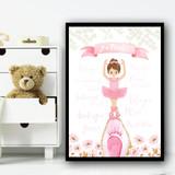 Ballerina Brown Hair En Pointe Children's Nursery Bedroom Wall Art Print