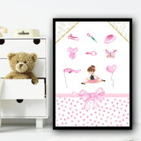 Ballerina Brown Hair Items Children's Nursery Bedroom Wall Art Print
