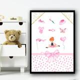 Ballerina Red Hair Items Children's Nursery Bedroom Wall Art Print