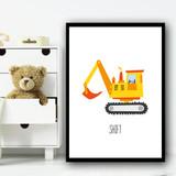 Construction Digger Shift Children's Nursery Bedroom Wall Art Print