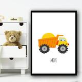Construction Dump Move Children's Nursery Bedroom Wall Art Print