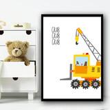 Construction Set 1D Children's Nursery Bedroom Wall Art Print