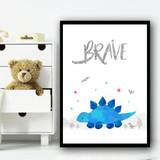 Dinosaur Blue Brave Children's Nursery Bedroom Wall Art Print