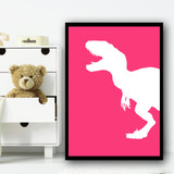 Dinosaur Colour Silhouette Pink Set 1 Children's Nursery Bedroom Wall Art Print