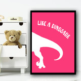 Dinosaur Colour Silhouette Pink Set 2 Children's Nursery Bedroom Wall Art Print