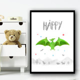 Dinosaur Green Happy Children's Nursery Bedroom Wall Art Print