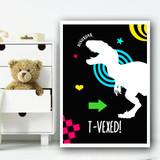 Dinosaur Neon Silhouette 1 Children's Nursery Bedroom Wall Art Print