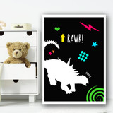 Dinosaur Neon Silhouette 2 Children's Nursery Bedroom Wall Art Print