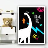 Dinosaur Neon Silhouette 3 Children's Nursery Bedroom Wall Art Print