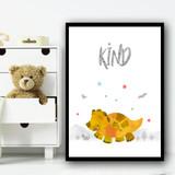 Dinosaur Orange Kind Children's Nursery Bedroom Wall Art Print