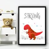 Dinosaur Red Strong Children's Nursery Bedroom Wall Art Print