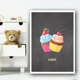 Enjoy Chalk Cake Children's Nursery Bedroom Wall Art Print
