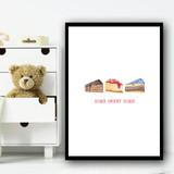 Home Weet Home Cake Children's Nursery Bedroom Wall Art Print