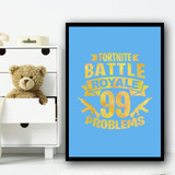 Fortnite Battle Royale 99 Problems Yellow Blue Children's Nursery Bedroom Print