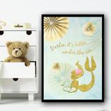 Mermaid Gold Japanese Style 2 Children's Nursery Bedroom Wall Art Print