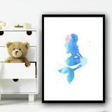 Ocean Blue Mermaid 1 Children's Nursery Bedroom Wall Art Print